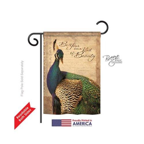 Breeze Decor 55043 Birds Peacock 2-Sided Impression Garden Flag - 13 x 18.5 in.