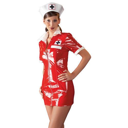 Vinyl Nurse Dress red Small Ladies Lingerie Ladies PVC Clothing - Black Level