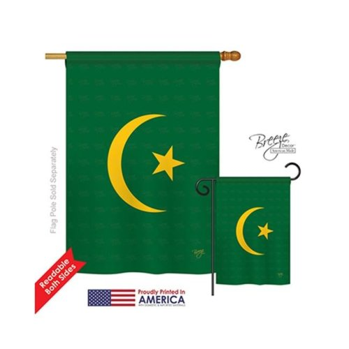 Breeze Decor 08313 Mauritania 2-Sided Vertical Impression House Flag - 28 x 40 in.