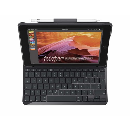 Logitech Slim Folio iPad, Case with Wireless Keyboard and Bluetooth, Compatible with iPad 5th and 6th Generation - QWERTY UK Layout, Black