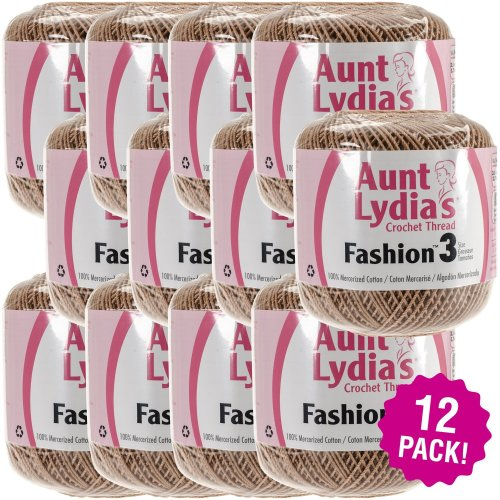 Aunt Lydia's Fashion Crocheet Thread Size 3 12/Pk-Copper Mist