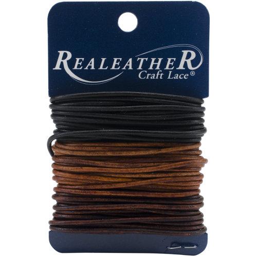 Realeather Crafts Round Leather Lace 2mmX8yd Carded-Ebony, Cedar & Mahogany