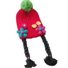 [Red Bow] Cute Baby Girl Knitted Hat Kids Cap with Braids