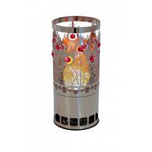 Silk Flame Effect Lamps - Round PEACOCK BRAZIER in Silver