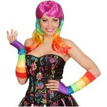 Rainbow Ladies Fingerless Satin Gloves -  rainbow ladies fingerless satin gloves