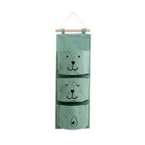3-Pocket Wardrobe Hanging Organizer Cute Expression Series Organizer Light Green