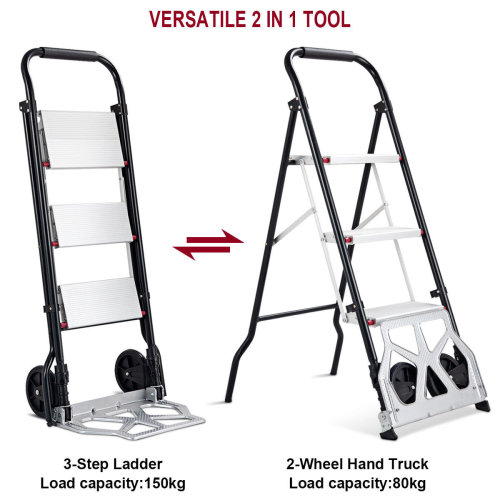 2-IN-1 Convertible Folding Aluminum 3-Step Stool Ladder