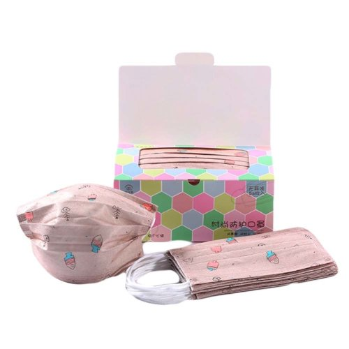 Pack Of 50 Cute Print Non-woven Fabric Breathable Disposable Earloop Face Mask