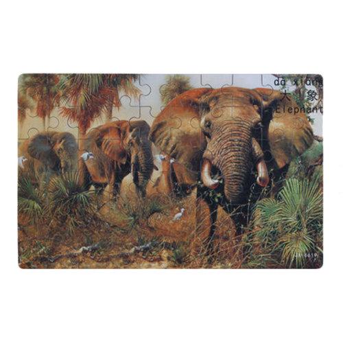 60PCS Tin Box Jigsaw Puzzle Wooden Animal Puzzle Kids Intelligence Toys Elephant