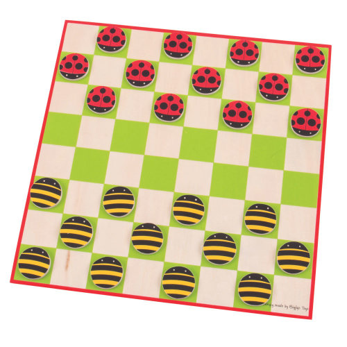Bigjigs Toys Ladybird and Bee Draughts - Traditional Wooden Game