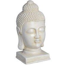 White Antique Meditating Buddha Head -  antique white meditating buddha look great any room