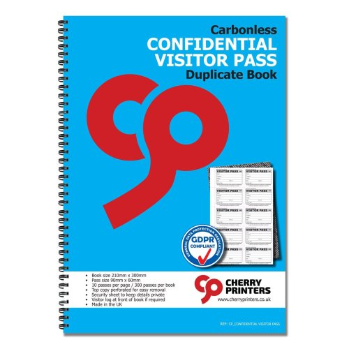 Cherry Confidential Visitor Pass 90mm x 60mm Duplicate Book 300 Passes