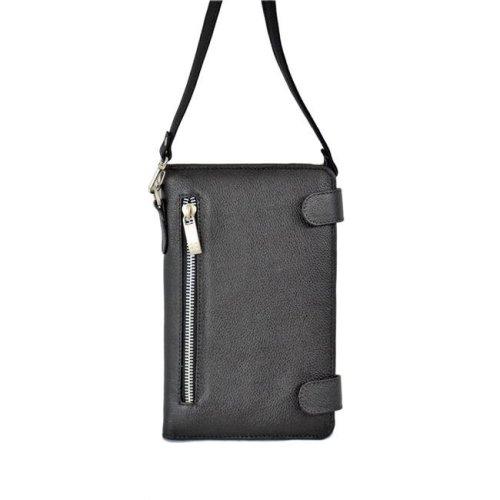 fe5f1f8615b Piel Leather 3111-BLK Ladies Leather Organizer with Strap, Black
