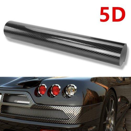 WDragon 30 Centimeter x 200 Centimeter High Gloss Black Carbon Fiber Vinyl Wrap Texture 3 Layer 5D Vinyl Wrap DIY Film