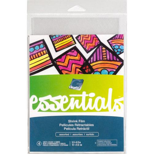 "Grafix Essential Shrink Film 5.5""X8.5"" 4/Pkg-Assorted Clear & Sanded"