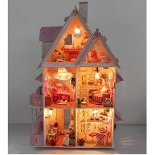 deAO Three leven Wooden Doll House - Self Build Model Luxury Miniature