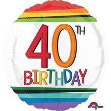Rainbow Birthday 40th Standard Foil Balloons S40 -