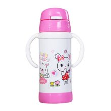 Cute Children Stainless Steel Insulation Cup Baby Sippy Cup Drinking Cup PINK