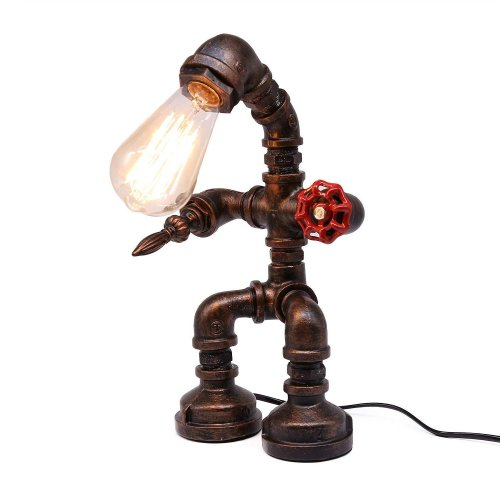 Frideko Vintage Industrial Iron Water Pipes Table Lamp for Bedside Desk (Robot Steampunk)