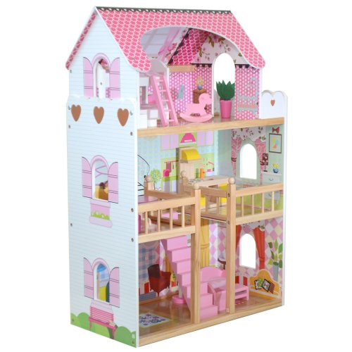 boppi® Wooden 3 Storey Dolls House with Furniture