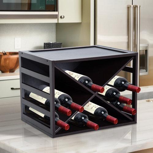 HOMCOM Wine Rack, 16 Bottles, Wood-Dark Brown