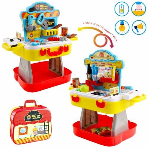 deAO Portable 3-in-1 Supermarket and Tool Station Workbench Play Set in Carry Case with 30+ Accessories - Pretend Role Playing Game for Kids