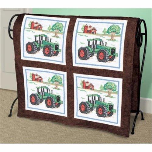 Tractor Quilt Blocks Stamped Cross Stitch-15''X15'' 6/Pkg