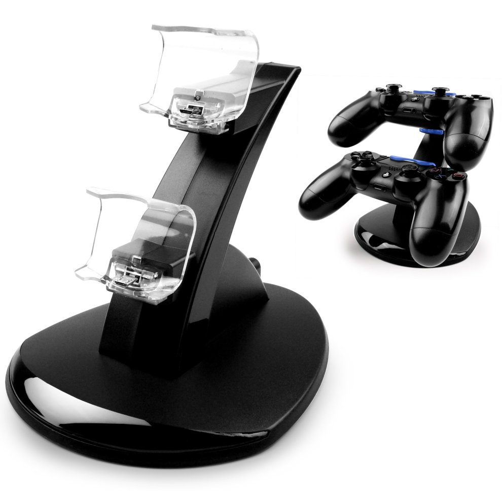 MyGadget Docking Station for 2x Sony PS4 Controller - Charger Stand with 2  Micro USB Ports & Charging Cable - Holder Dock for PlayStation 4 Dualshock