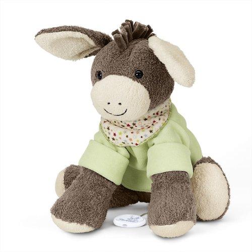 Sterntaler Musical Toy, Plush Donkey Emmi, Interchangeable Music Box, Size: L, Brown/Green