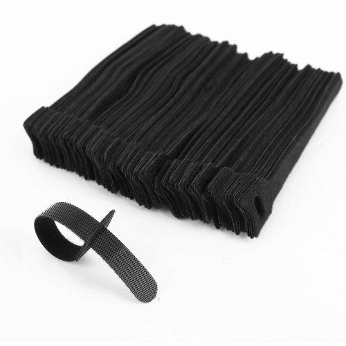 Grapelet 100 x Black Adjustable Strap Reusable Ties Tidy Wrap Hook & Loop