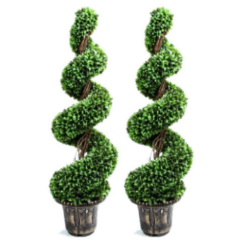 Artificial Green Spiral Topiary with Decorative Planter