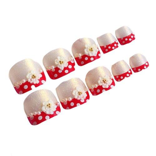 2 Box Red Dots Short Artificial False Nails Tips False Toenails Nail Art Nail