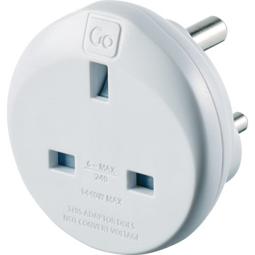 Go Travel UK to India Earthed Compact Travel Adaptor Convertor (Adapter Ref 532)