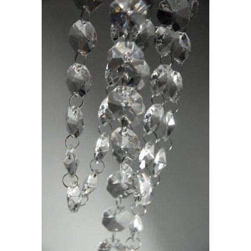 6ft Clear Crystal Glass Sparkly Beaded Chandelier Chain