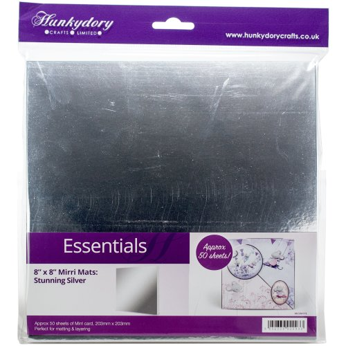 "Hunkydory Mirri Super-Reflective 8""X8"" Cardstock Mats 50/Pkg-Silver"