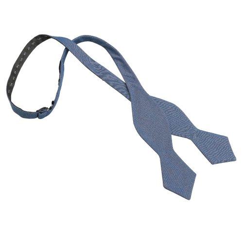 Dark Blue Hopsack Linen Pointed Self Tie Bow Tie
