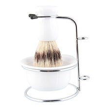 Beauty7 Professional Premium Boar Bristle Shaving Brush Set With Stand Soap Bowl for Mens Wet Shave Resin Handle white