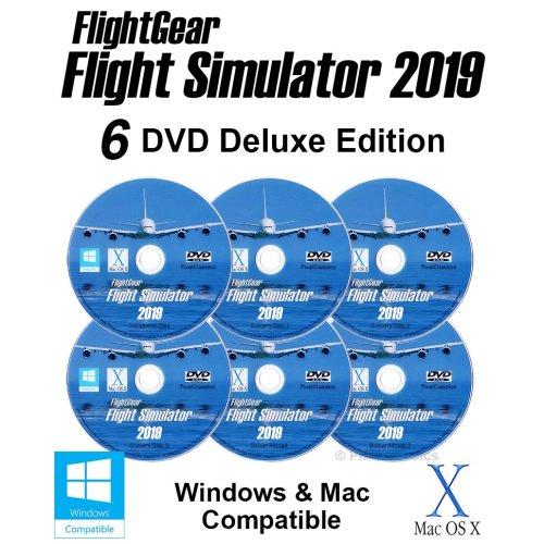 Flight Simulator 2019 X DELUXE Edition Flight Sim FlightGear 6 Disc DVD CD Set For Microsoft Windows 10 8 7 Vista PC / 600+ Aircraft & FULL Worldwide Scenery!