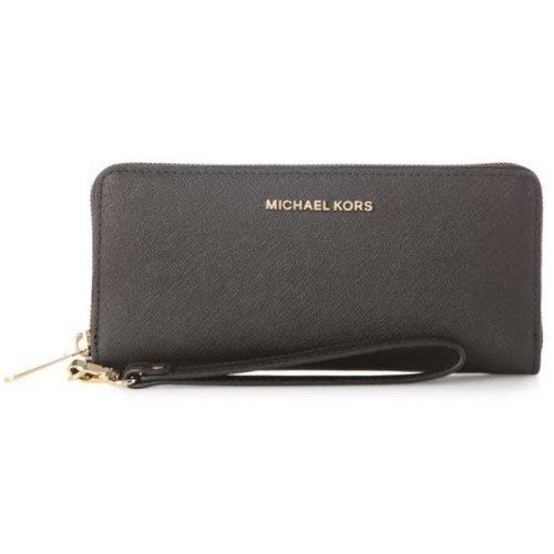 Michael Kors Jet Set Travel Saffiano Leather Continental Wallet - Black - 32S5GTVE9L-001