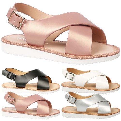 Rikki Girls Kids Flat Open Toe Slingback Summer Sandals