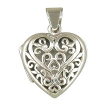 Childrens Sterling Silver Filigree Heart Locket On A Curb Necklace