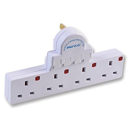 Pro-Elec 4 Gang Switched and Surge Protected Electric Socket Adaptor - White