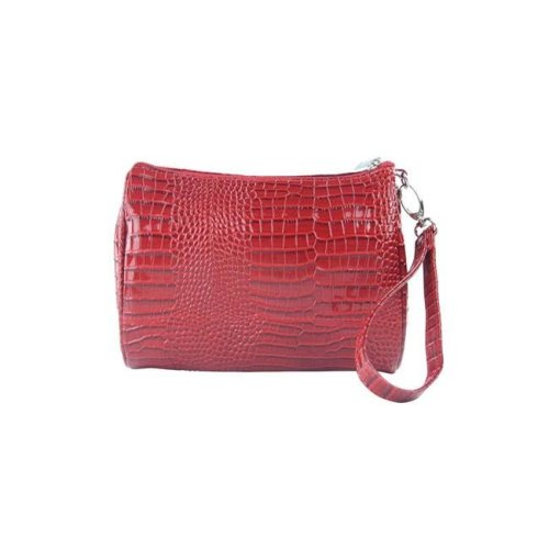 Shirley Temple-Touch Up Insulated Cosmetics Bags with Removable Wristlet, Red Croc - Large