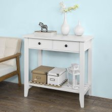 SoBuy® FSB04-W, Console Table with 2 Drawers and 1 Shelf, White