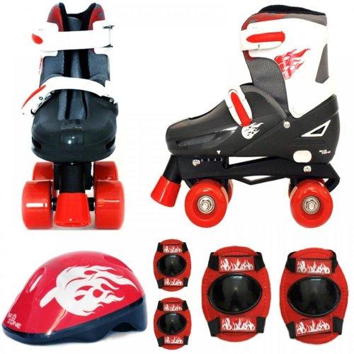 Boys Red Black Quad Skates Kids Padded Roller Boots Safety Pads Helmet Skate Set[Small 9-12 (27-30 EU)]