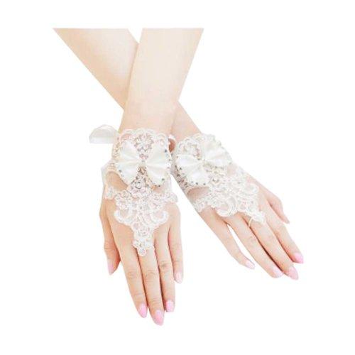 Girls/ Ladies Lace Bridal Bride Short Gloves Wrist Wedding Party Costume Prom,B