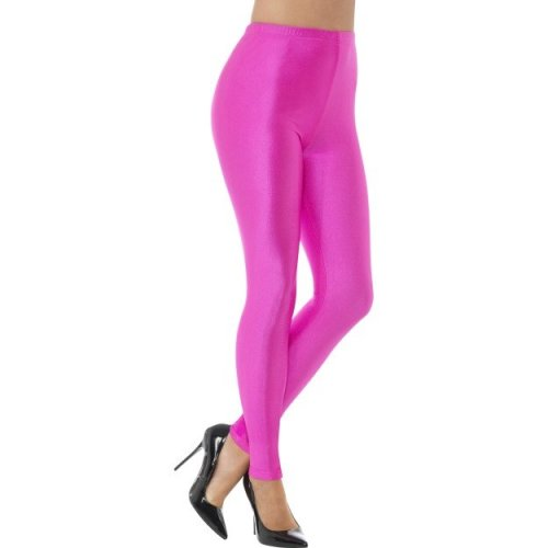 Large Neon Pink Ladies 80's Disco Spandex Leggings -  ladies 80s disco spandex leggings womens neon fancy dress costume adults groovy