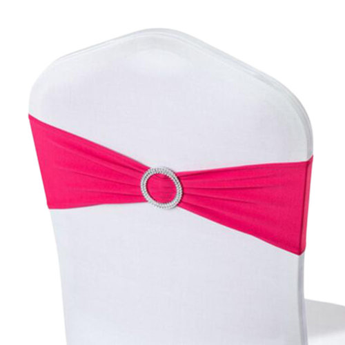 10PCS Chair Back Wedding Bow Sashes Chair Cover Bands With Buckle-Rose Red