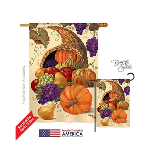 Breeze Decor 13041 Harvest & Autumn Cornucopia 2-Sided Vertical Impression House Flag - 28 x 40 in.