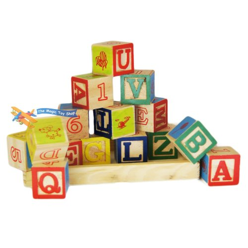 Set of 15 Wooden Alphabet Blocks